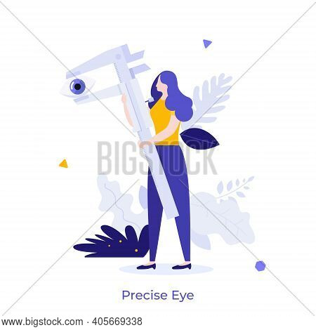 Woman Measuring Human Eye With Vernier Caliper. Concept Of Engineering Tool For Precise Dimension Me