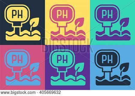 Pop Art Soil Ph Testing Icon Isolated On Color Background. Ph Earth Test. Vector
