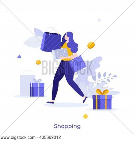 Customer, Buyer Or Shopaholic Carrying Shopper Bags, Gift Boxes, Dollar Coins. Concept Of Shopping,