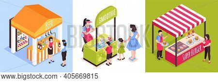 Isometric Food Courts Fair Design Concept With Compositions Of Market Stall Images Seller And Buyer