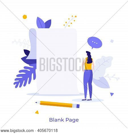 Woman Standing In Front Of Empty Paper Sheet. Concept Of Fear Of Blank Page, Writers Block, Beginnin
