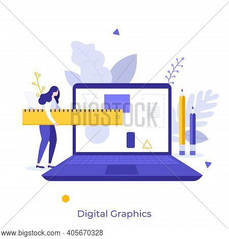 Artist Or Designer Carrying Ruler And Laptop. Concept Of Digital Graphics Editor, Computer Program F