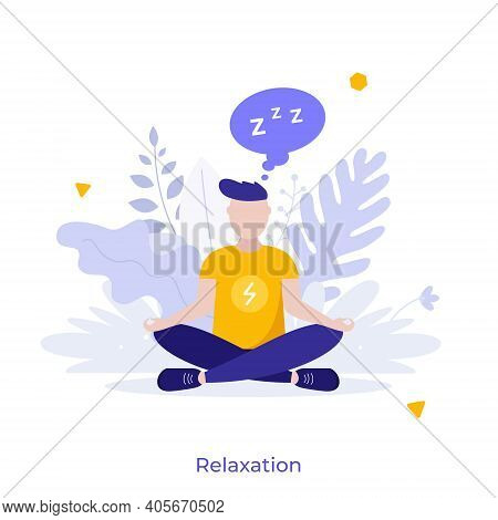 Man Sitting Cross-legged In Lotus Posture And Meditating. Concept Of Relaxation, Mindfulness Meditat