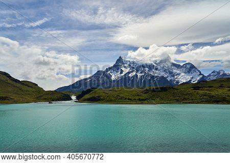 Mountains Of Torres Del Paine Covered With Snow At Torres Del Paine National Park In The Andes Of So