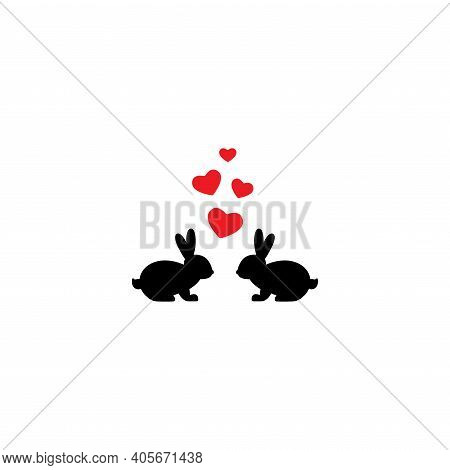 Two Black Cute Bunnies With Hearts. Love, Romantic, Amour Icon. Rabbits Couple. Vector Illustration