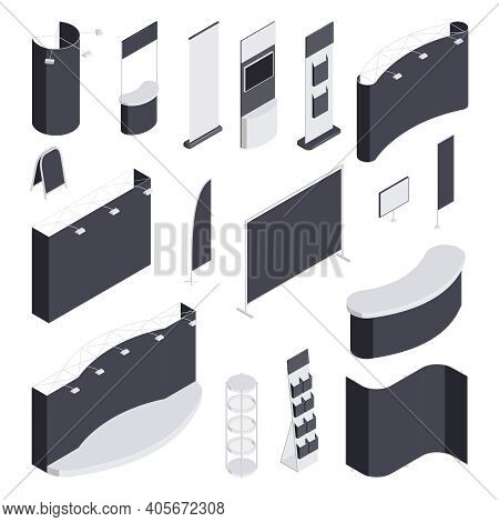 Expo Stand Monochrome Isometric Set Of Different Blank Exhibit Trade Show Booths Isolated 3d Vector