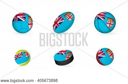Sports Equipment With Flag Of Fiji. Sports Icon Set Of Football, Rugby, Basketball, Tennis, Hockey,