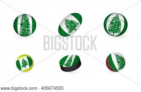Sports Equipment With Flag Of Norfolk Island. Sports Icon Set Of Football, Rugby, Basketball, Tennis