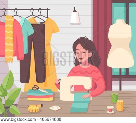 Hobby Creative Pastime Activities Flat Cartoon Composition With Young Woman Making Clothes With Sewi
