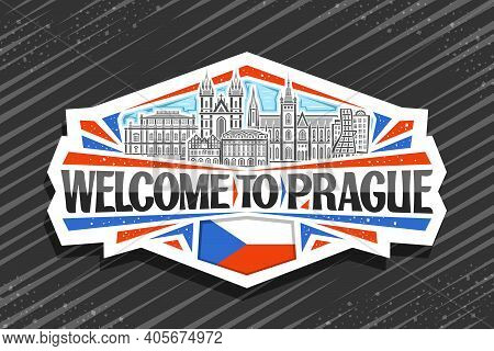 Vector Logo For Prague, White Decorative Sticker With Illustration Of Prague City Scape On Day Sky B