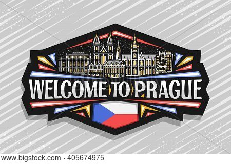 Vector Logo For Prague, Black Decorative Sign With Illustration Of Eastern European Prague City Scap