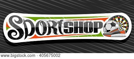 Vector Banner For Sport Shop, Decorative Cut Paper Signage For Sporting Goods Store With Colorful Il