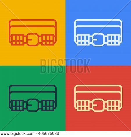 Pop Art Line Hunting Cartridge Belt With Cartridges Icon Isolated On Color Background. Bandolier Sig