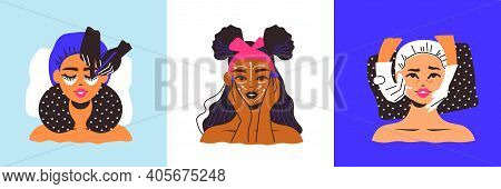 Cosmetology Woman Design Concept With Three Square Compositions Of Female Faces Applying Masks And C
