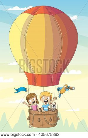 Children And Animals Fly In Hot Air Balloon. Hand Drawn Vector Illustration With Separate Layers.