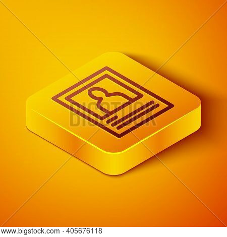 Isometric Line Wanted Poster Icon Isolated On Orange Background. Reward Money. Dead Or Alive Crime O