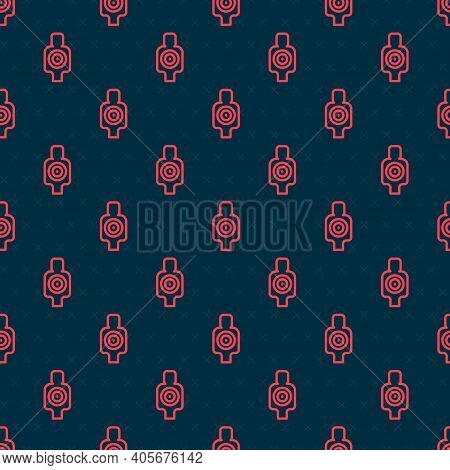 Red Line Human Target Sport For Shooting Icon Isolated Seamless Pattern On Black Background. Clean T