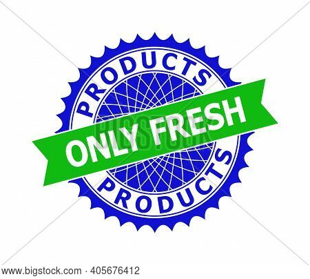 Vector Products Only Fresh Bicolor Template For Watermarks With Clean Surface. Flat Clean Seal Templ