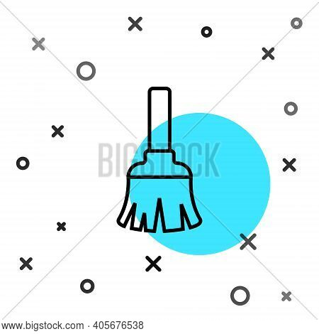 Black Line Feather Broom For Cleaning Icon Isolated On White Background. Feather Duster. Random Dyna