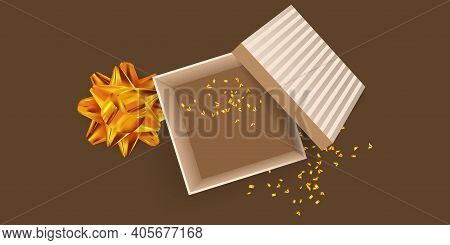 Open Gift Box, Golden Bow And Confetti. Festive Design For Valentine's Day, Wedding, Mother's Day