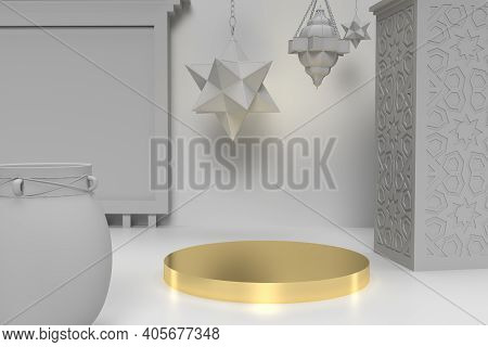 Golden Table For Product Display 3d Rendered