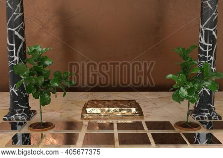 Golden Table With Two Plants Product Display 3d Rendered