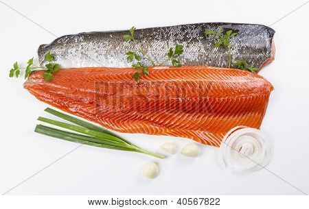 Wild Pacific Salmon Fillets with fresh herbs on White background poster