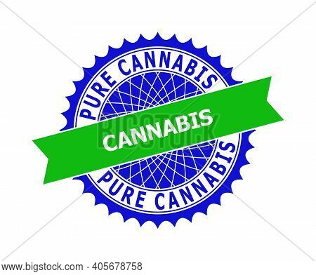 Vector Pure Cannabis Bicolor Template For Rubber Imitations With Clean Surface. Flat Simple Seal Tem