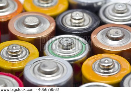 Batteries Lined Up For Recycling Aa Aaa