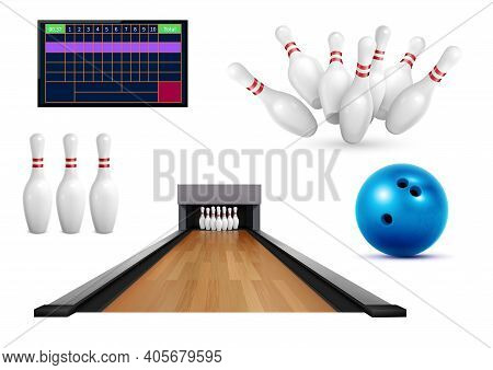Set Of Realistic Bowling Icons With Images Of Pins Ball And Leaderboard Score Table With Lane Vector