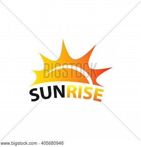 Sunset Beach Logo Landscape Design Template Vector Illustration. Summer Wave Sun Logo Sign Design Ic