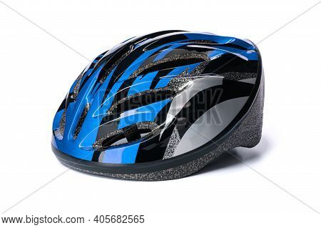 One Bicycle Helmet In Blue-black Color On A White Isolated Background