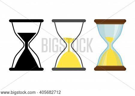 Sandglasses Clock Icons Set In Flat Style. Vector Stock Illustration.
