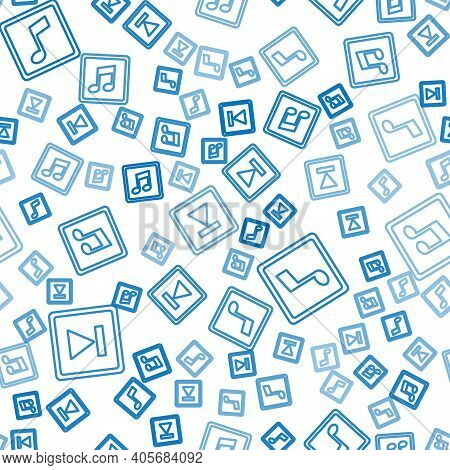 Set Line Fast Forward, Music Note, Tone And Music Note, Tone On Seamless Pattern. Vector