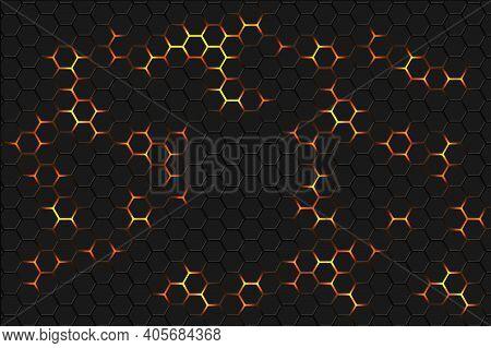 Hexagonal Abstract Background. Yellow Bright Light Energy Flashes Under The Hexagon. Dark Honeycomb