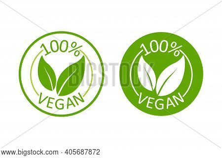 Vegan Emblem. Vegan, Great Design For Any Purposes. Logo, Symbol Background. Eco Friendly Vector Ill