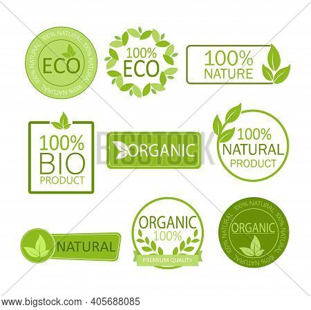 Vegan Emblem. Round Logo. Vector Logo. Natural Product. Natural Leaf Icon. Vegan Emblem. Healthy Fre