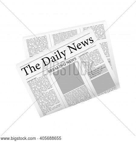 Newspaper, Great Design For Any Purposes. Vector Editorial Print Layout. Newspaper Template. Daily P