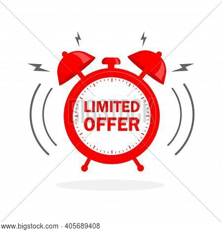 Flat Icon With Red Limited Offer For Any Purpose. Last Chance Sale. Flat Concept. Promotion Banner C