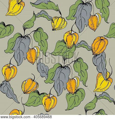 Seamless Pattern With Leaves And Flowers Physalis.vector Illustration