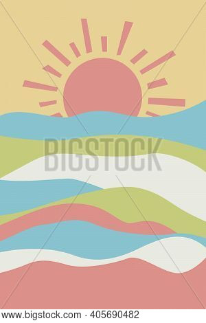 Geometric Abstract Contemporary Background. Sun And Hills, Sunset. Boho Wall Decor. Design For Baby