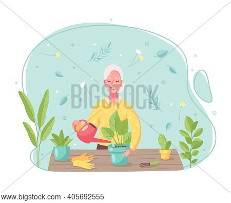 Hobby Pastime Activities Cartoon Composition With Woman Watering Repotting Taking Care Of Plants Fla