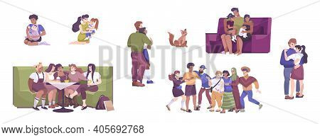 International Hug Day Icon Set With Mom And Dad With Child Friends Together And Lovers Hugs Vector I