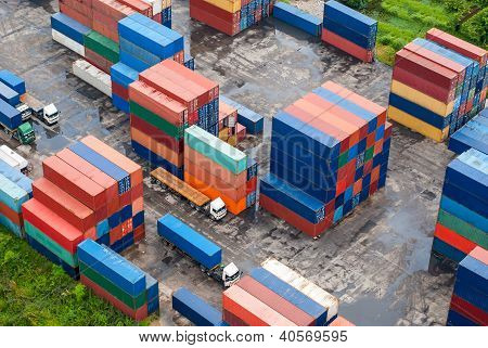 Stack Of Freight Containers At The Docks