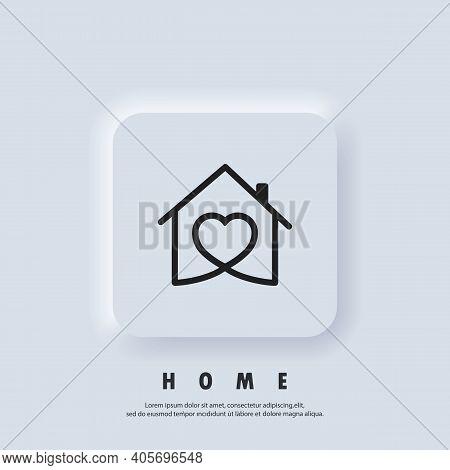 House With Heart, Love Home Symbol. Hospital. Happy Family. Vector. Ui Icon. Neumorphic Ui Ux White