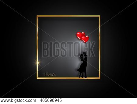 Gold Frame Valentines Day Concept, Romantic Silhouette Of Loving Couple With Glossy Red Balloons Hea