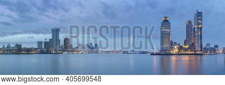 Rotterdam, The Netherlands, January 2021: Panoramic View Of The Rotterdam Skyline, Erasmus Bridge, K