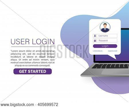 Flat Illustration With User Login Laptop. Vector, Flat Design. Laptop Vector Icon Illustration.