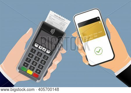 Hand With Terminal And Smartphone. Abstract Online Payment For Mobile Device Design. Online Transact