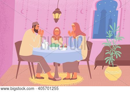 Ramadan Family Iftar Flat Composition With Home Scenery Father With Mother And Daughter Praying At T